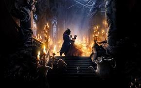 Обои огни, танец, зеркало, фэнтези, пара, чашка, Эмма Уотсон, Emma Watson, дворец, заварник, Beauty and the ...