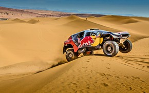 Картинка Песок, 2008, Спорт, Скорость, Гонка, День, Peugeot, Жара, Red Bull, Rally, Dakar, Дакар, Ралли, Sport, …