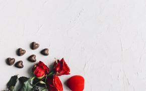 Картинка розы, букет, Праздник, сердечко, день влюбленных