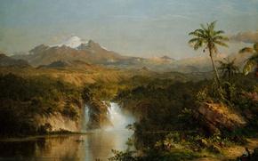 Картинка пейзаж, гора, картина, вулкан, Фредерик Эдвин Чёрч, Вид Котопахи