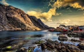 Картинка горы, дома, Норвегия, Nusfjord in Lofoten, Fishing village, Nusfjord