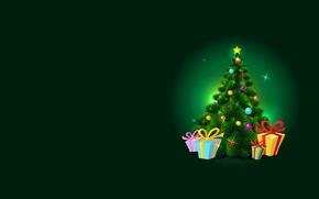Обои Новый год, арт, праздник, ёлочка, подарки, вектор, минимализм