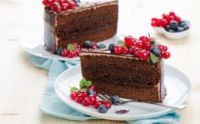 Обои ягоды, крем, сахарная пудра, шоколад, пирожное, красная смородина, черника