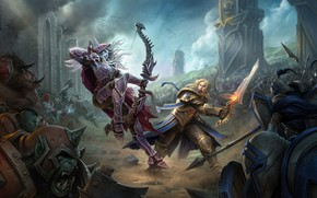Картинка battlefield, sword, World of Warcraft, fantasy, game, magic, soldiers, armor, army, battle, weapons, elf, digital ...
