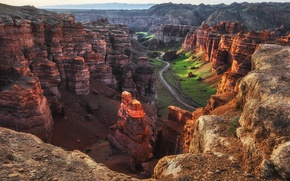 Обои скалы, утро, Казахстан, Каньон Чарын