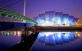 Картинка ночь, огни, Шотландия, Глазго, конференц-центр, выставочный зал