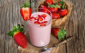 Картинка стакан, завтрак, молоко, клубника, strawberry, йогурт, yogurt