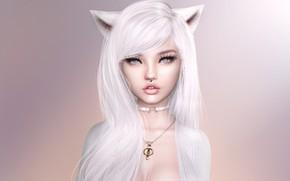 Картинка девушка, лицо, фон, волосы, блондинка
