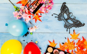 Картинка листья, цветы, стиль, макияж, тени, Маска, карнавал, style, flowers, leaves, shadows, Mask, makeup, carnival