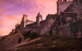 Картинка крепость, башни, стена, Франция, холм, Carcassonne