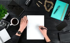 Картинка блокнот, смартфон, растение, планшет, ручки, кофе, украшения, чашка, вид сверху, очки, руки