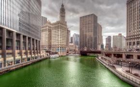 Картинка мост, река, башня, дома, Чикаго, США, Иллинойс
