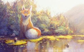 Картинка осень, арт, лиса, fantasy, детская, Prince of Sunflower scene 4, Gop Gap