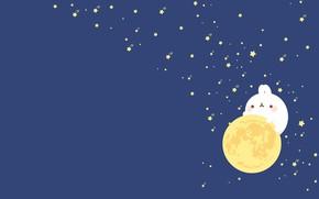 Картинка ночь, настроение, луна, минимализм, звёзды, арт, Molang
