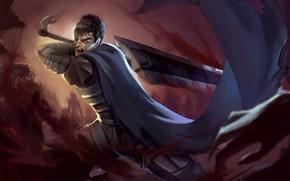 Картинка меч, аниме, парень, Берсерк
