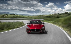 Картинка car, Maserati, red, speed, fast, vegetation, Maserati Granturismo