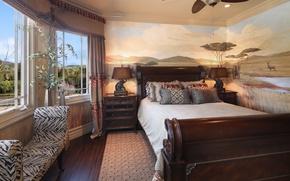 Картинка дом, комната, кровать, подушки, окно, светильник, особняк, Design, комод, Bed, Interior, Bedroom
