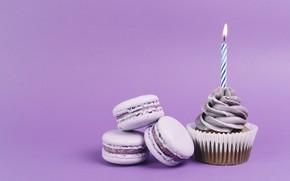 Картинка праздник, cupcake, кекс, candle, Birthday, макаруны, Macaroons