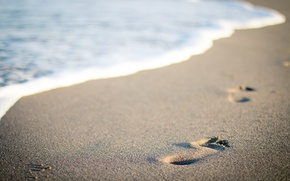 Картинка Макро, Песок, Природа, Пляж, Следы