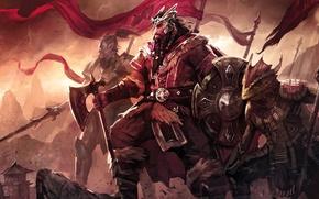 Картинка game, weapon, war, man, elf, The Elder Scrolls, warrior, The Elder Scrolls Online, spear, reptile