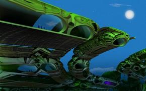 Картинка небо, планета, сооружение, звёзды, Caterpillar Towers