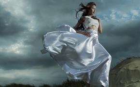 Картинка девушка, ветер, азиатка