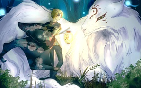 Картинка лес, деревья, природа, аниме, арт, фонарь, парень, madara, natsume takashi, Natsume Yuujinchou, тетрадь дружбы Нацумэ, …