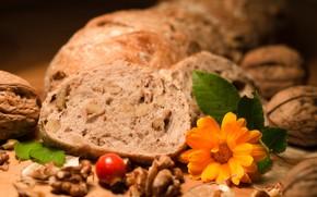 Картинка шиповник, хлеб, орехи