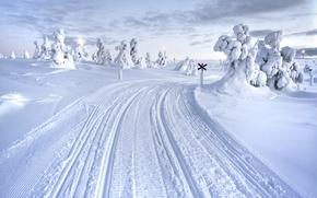 Картинка Зима, Снег, Дороги, Финляндия, Лапландия