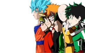 Картинка Bleach, Naruto, One Piece, pirate, anime, crossover, hero, martial artist, manga, Naruto Shippuden, Dragon Ball, …