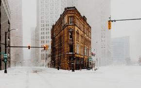 Картинка зима, снег, город, дома, США, улицы, пурга