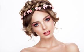 Картинка взгляд, девушка, розы, макияж, прическа, плечи, венок
