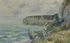 Картинка море, пейзаж, картина, Гюстав Луазо, Gustave Loiseau, Скалы Сен-Жуэна