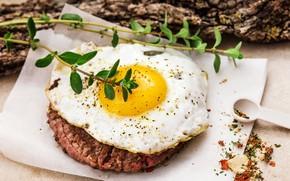 Обои яйцо, мясо, яичница, специи
