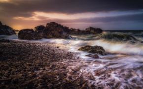 Картинка волны, камни, скалы, побережье, Шотландия, Scotland, Portknockie, Morayshire