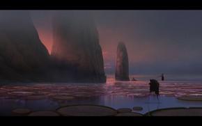 Картинка скалы, водоём, Crow Fisher