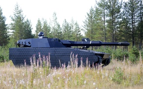 Обои concept, test, Poland, tank, armored, vegetation, futuristic, cannon, stealth, BAE Systems, modern weapon, PL-01, PL ...