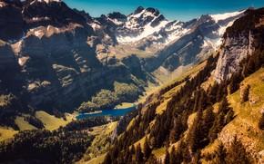 Картинка солнце, деревья, горы, озеро, скалы, высота, Швейцария, ущелье, вид сверху