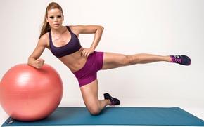 Обои legs, workout, Ball, female, fitness
