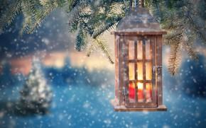 Картинка снег, украшения, елка, Новый Год, Рождество, фонарь, Christmas, snow, Merry Christmas, Xmas, decoration, candle, lantern, …