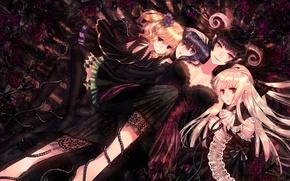 Картинка девушки, розы, шипы, рога, anime, art