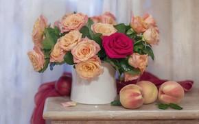 Картинка цветы, розы, букет, фрукты, персики, композиция