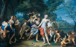 Обои Похищение Европы, мифология, масло, дерево, картина, Николас Верколье