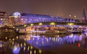 Картинка ночь, город, огни, Bremen City