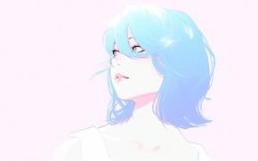 Обои лицо, стрижка, голубые волосы, челка, портрет девушки, Илья Кувшинов