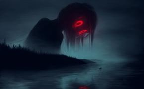 Картинка безнадежность, туман, река, одиночество, лодка, монстр, призрак, ужас, красные глаза, мгла, art, ночной кошмар, Klaufir