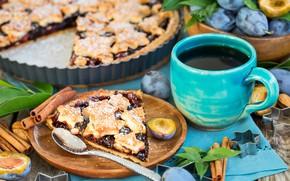 Обои выпечка, чашка, корица, сливы, кофе, пирог, сливовый