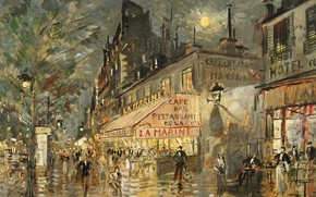 Картинка улица, дома, картина, городской пейзаж, Константин Коровин, Кафе Мартен. Париж