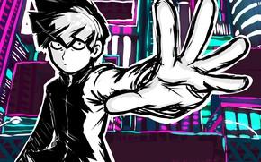 Картинка взгляд, рука, аниме, арт, парень, Mob Psycho 100, Моб психо 100