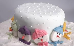 Картинка торт, рожицы, глазурь, рождественский
